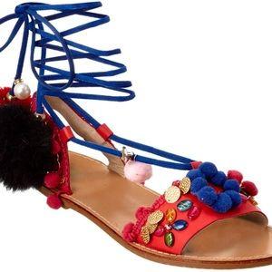 Catherine Malandrino Pom Pom Sandals EUC
